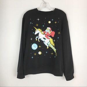 Fifth Sun Pixel Santa Riding Unicorn Sweatshirt L